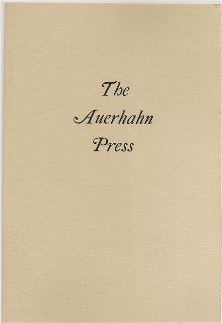 THE AUERHAHN PRESS. Auerhahn Press, Catalogue.