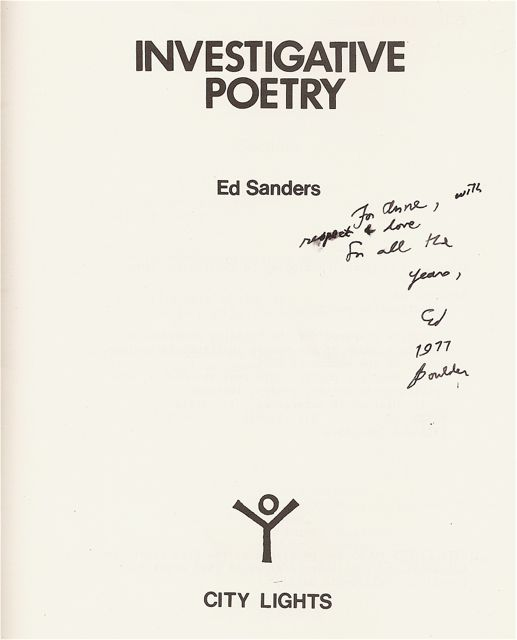 INVESTIGATIVE POETRY. Ed SANDERS.