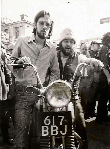 LEADER OF THE HELLS ANGELS IN LONDON PUBLISHES HIS AUTOBIOGRAPHY by  Photograph on Tomberg Rare Books