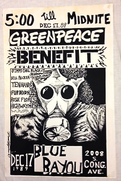 Greenpeace Benefit-Dec 17, 1989 Blue Bayou. Greenpeace.