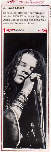 JANIS JOPLIN [Press Photograph by Tucker Ranson] All-out Effort: Exhausted after her performance at the 1969 Woodstock festival, Janis Joplin closes her eyes and rests of the microphone