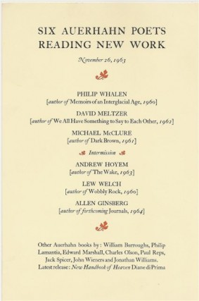SIX AUERHAHN POETS READING NEW WORK November 26, 1963
