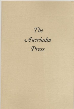 THE AUERHAHN PRESS. Auerhahn Press, Catalogue