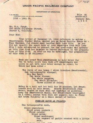 OFFICIAL LETTER FROM UNION PACIFIC RAILROAD COMPANY REGARDING CUISINE ON TRAIN 38. T. M. NELSON