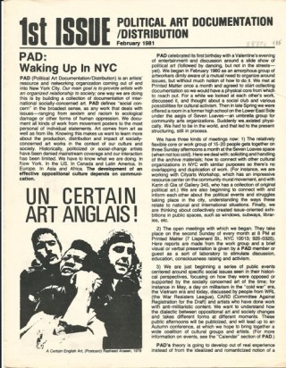 1st ISSUE: Political Art Documentation/Distribution (February 1981), (later called Upfront)