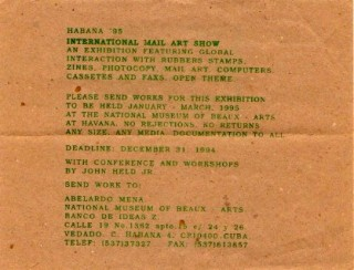 INTERNATIONAL MAIL ART SHOW, HAVANA Ÿ95