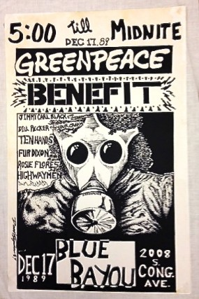 Greenpeace Benefit-Dec 17, 1989 Blue Bayou. Greenpeace
