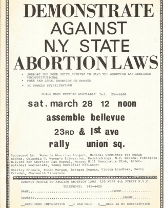 [ABORTION] Demonstrate Against N.Y. State Abortion Laws [two versions of a handbill]