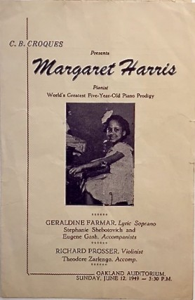 [HARRIS, Margaret]. C.B. Croques presents Margaret Harris, pianist. World's greatest five-year-old piano prodigy